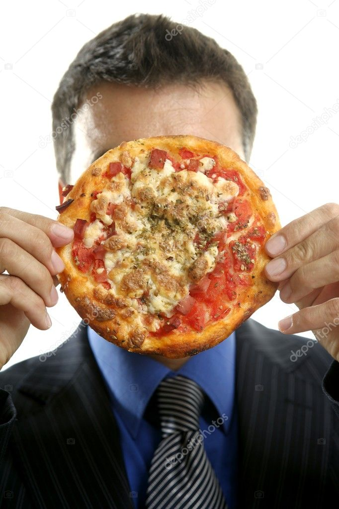 Businessman and pizza junk fast food, studio white background  Stock Photo #5501005