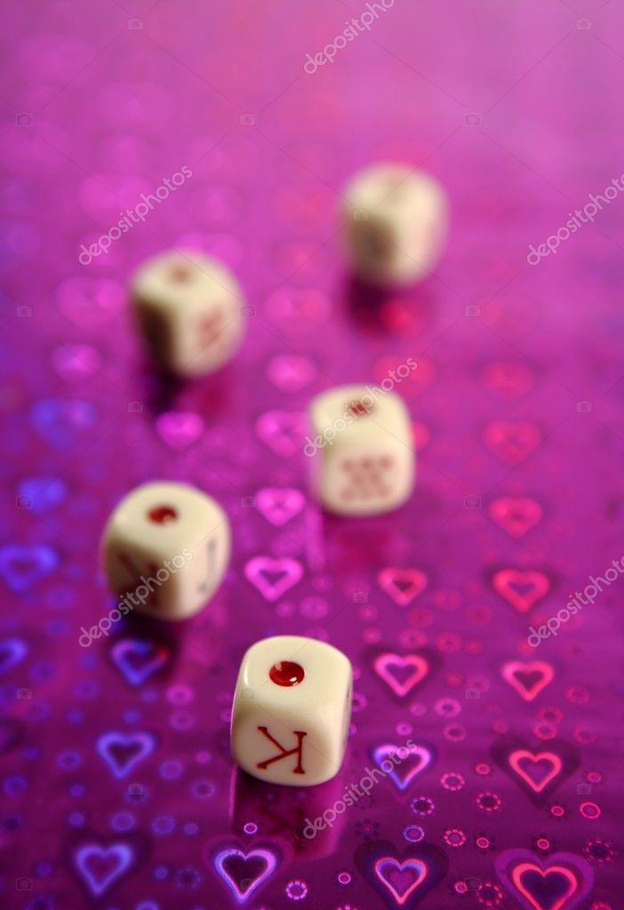 Poker dices over colored background, selective focus — Stock Photo #5503249