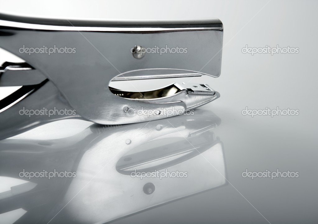 Professional stapler, silver chrome reflex — Stock Photo #5504046
