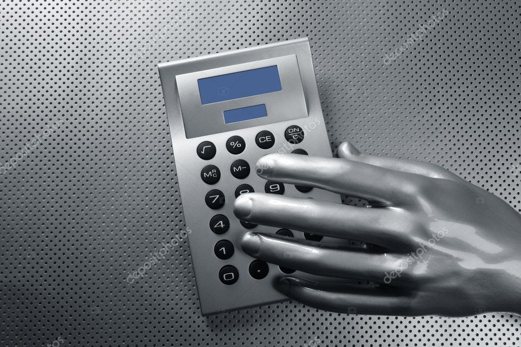 Business futuristic silver hand metaphor on calculator keyboard — Stock Photo #5504474