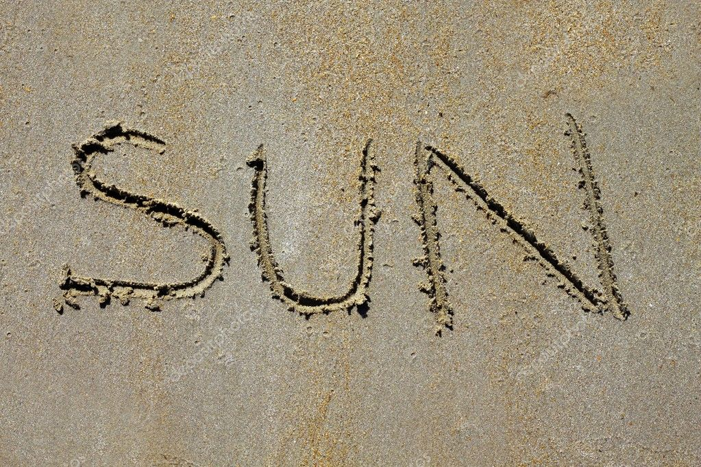 Sun In The Sand Word sun spell on beach wet