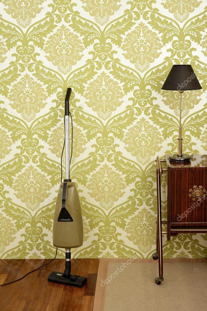 retro staubsauger vintage 60er tapeten stockfoto. Black Bedroom Furniture Sets. Home Design Ideas