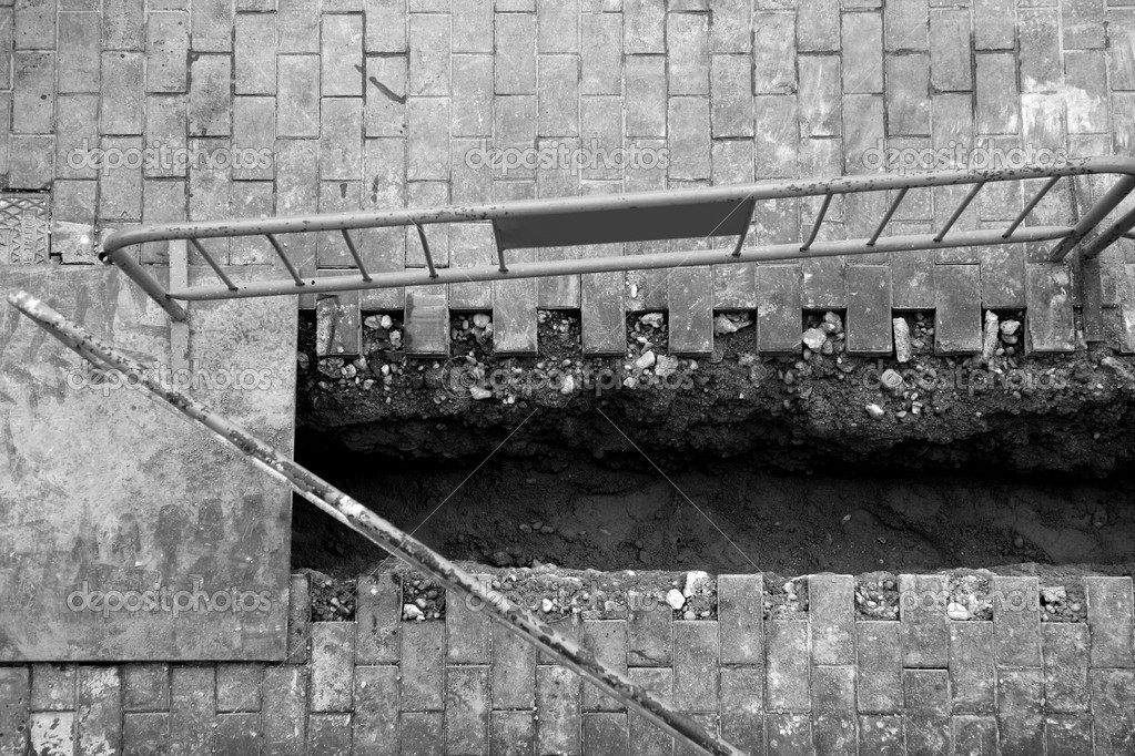 Urban civil construction, Spain, trench, black and white  Stock Photo #5504984