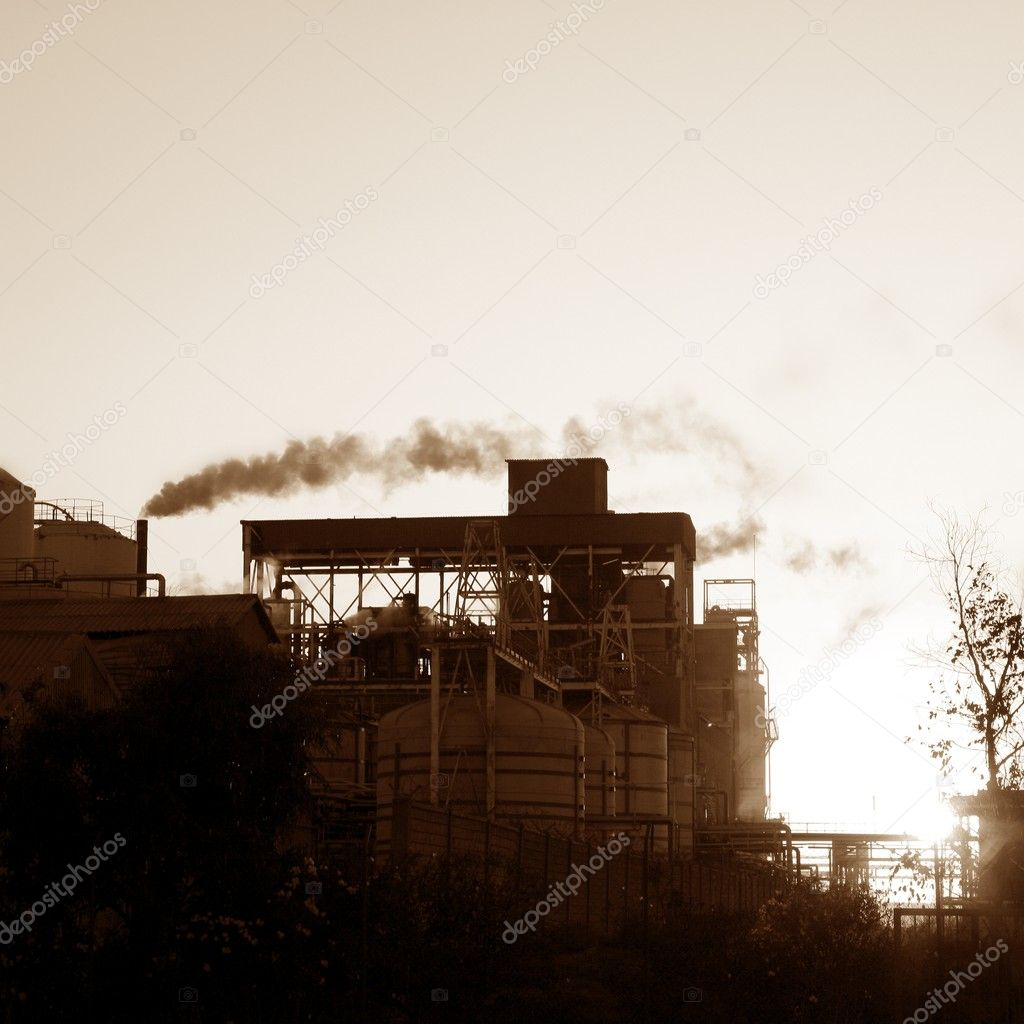 Backlight petrochemical industry smog smoke on sky  Stock Photo #5505070