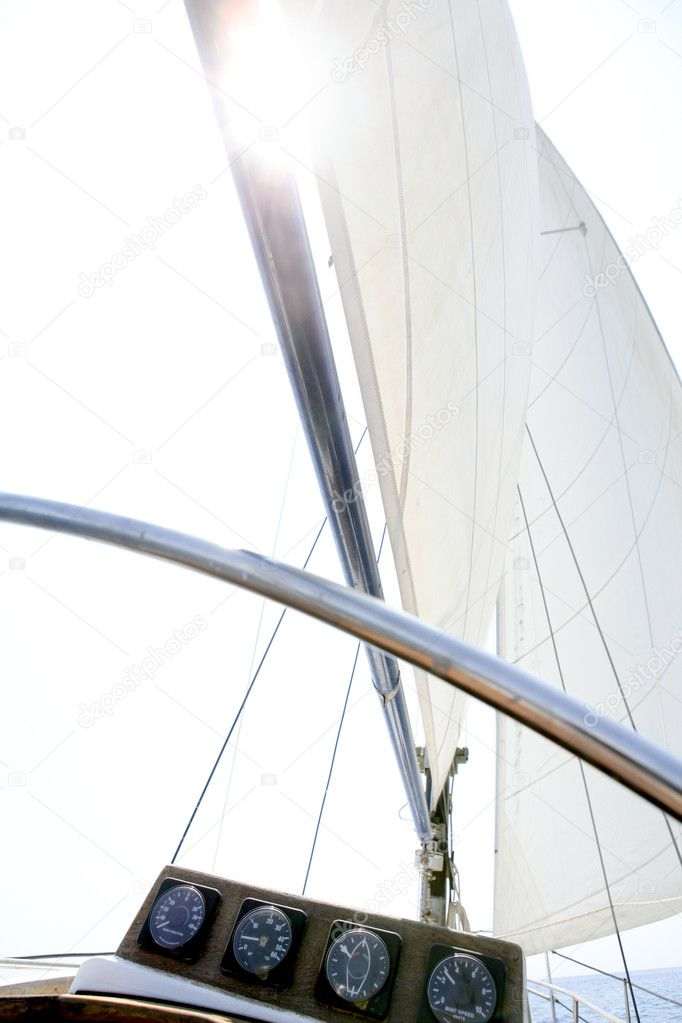 Sailing with an old sailboat over blue mediterranean summer sea  Stock Photo #5505551
