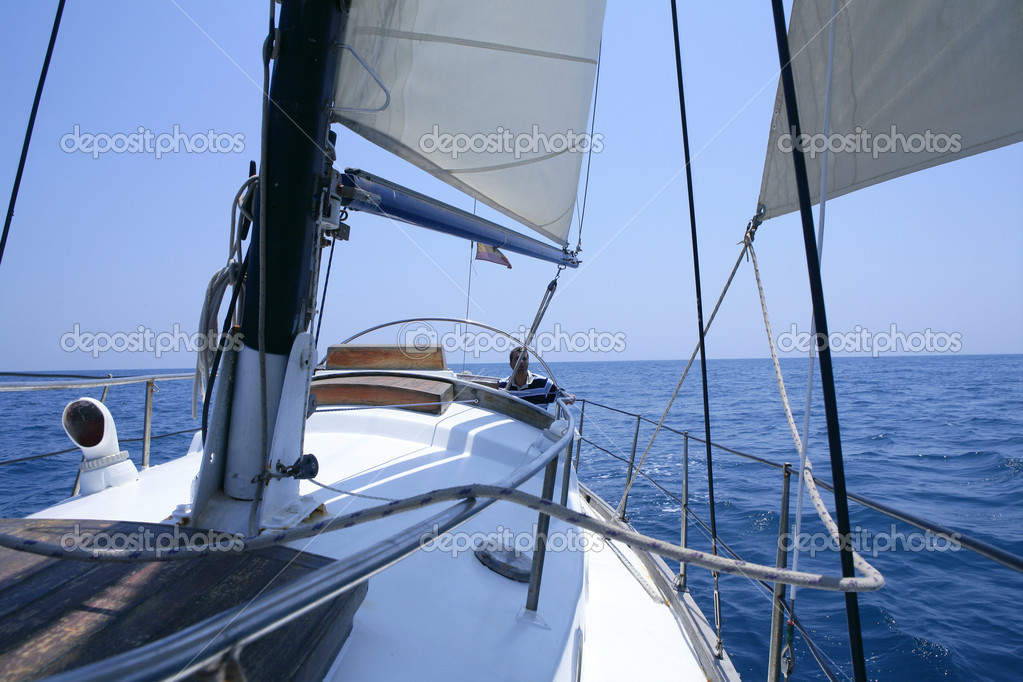 Sailing with an old sailboat over blue mediterranean summer sea — Stock Photo #5505558