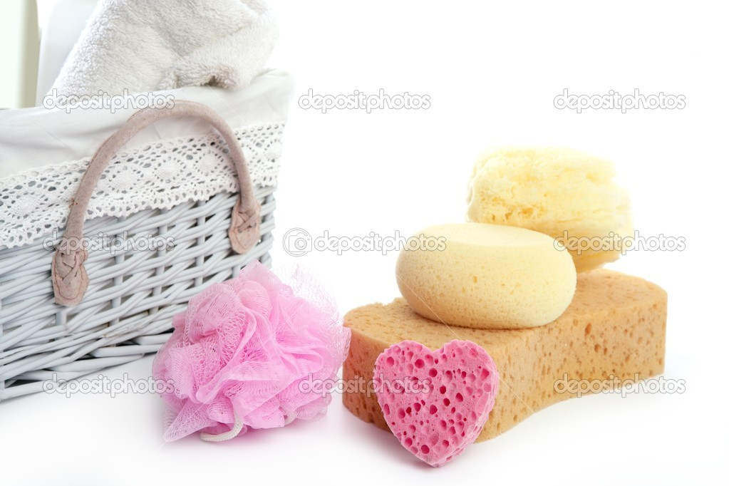 Toiletries stuff sponge gel shampoo and bath towels on white background  Stock Photo #5505970