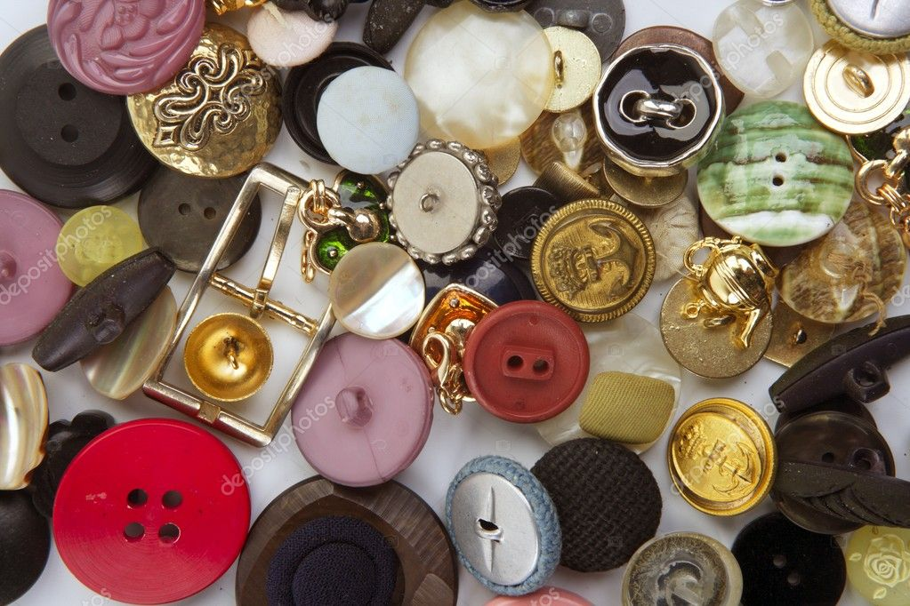 Clothing buttons collection mess pattern background sewing stuff — Stock Photo #5506130