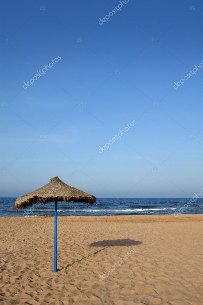 Summer vegetal beach heater wattle umbrella blue sea sky — Stock Photo #5506427
