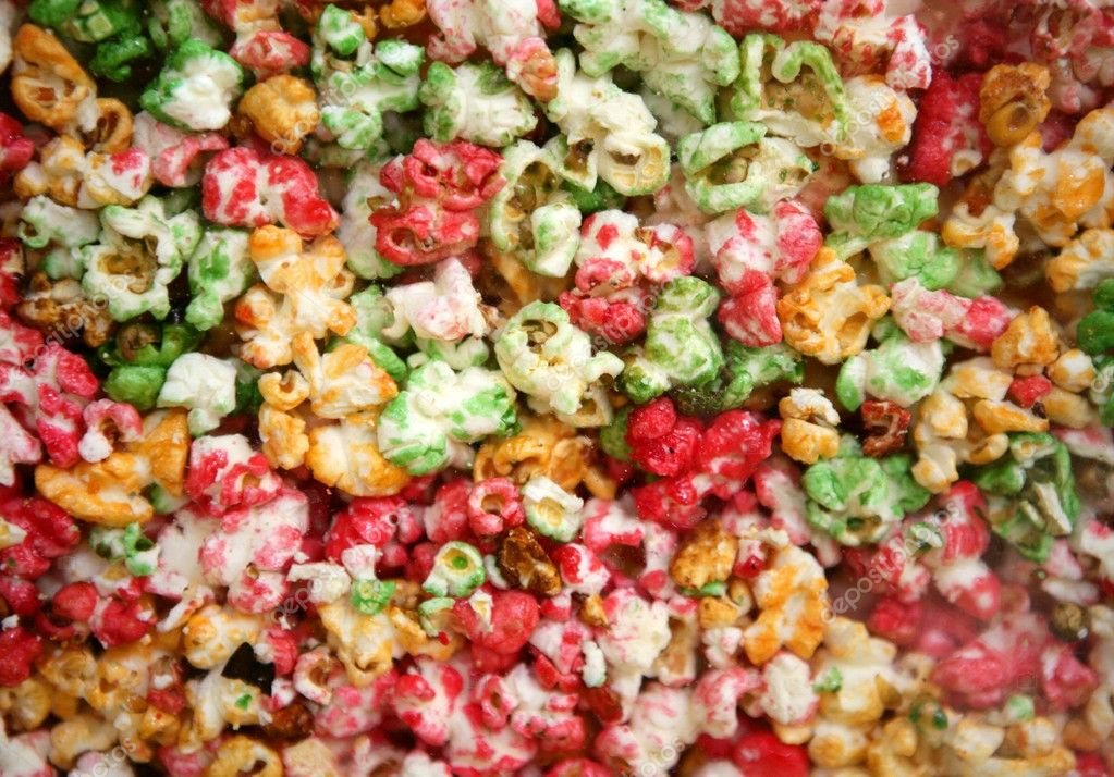 Multi color children sweet pop corn macro texture — Stock Photo #5508138