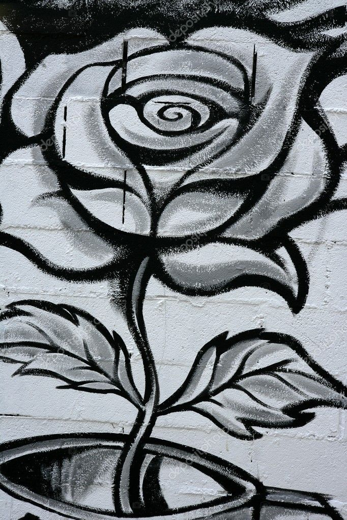 Black and white rose street graffiti paint detail wall — Stock fotografie #5508431