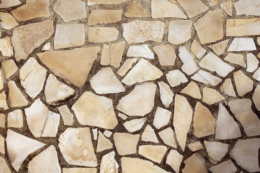 Masonry rock stone tiles floor on the park stock image