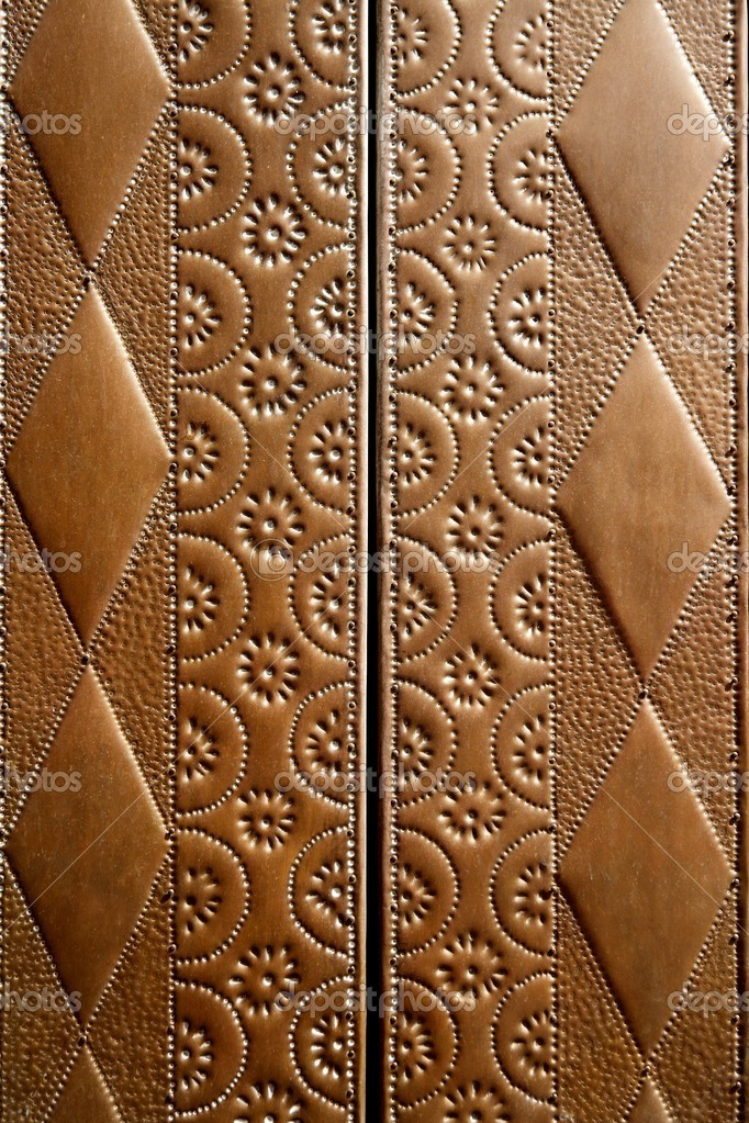 Embossed brass vintage old church door detail craftsman art — Stock Photo #5508577