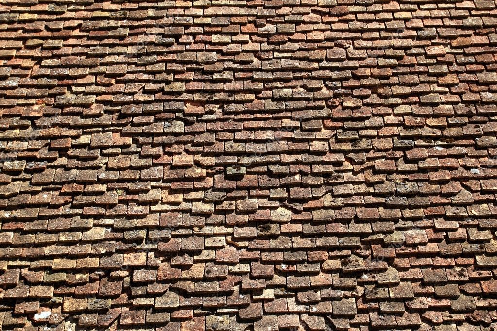 Square Roof Tiles Plain Clay Pattern Weathered Stock