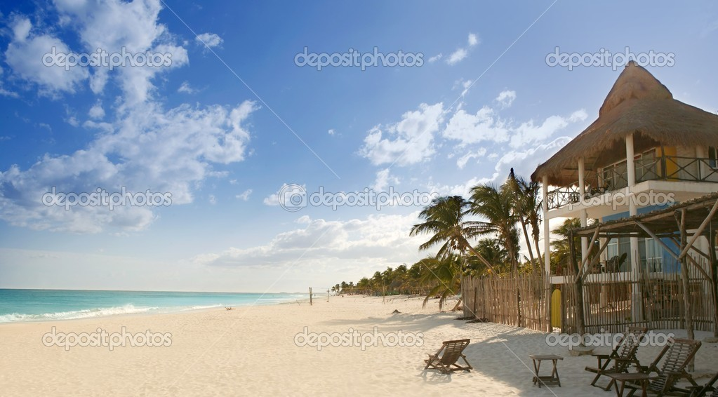 Caribbean Sand Beach Tropical Houses In Mexico Stock Photo