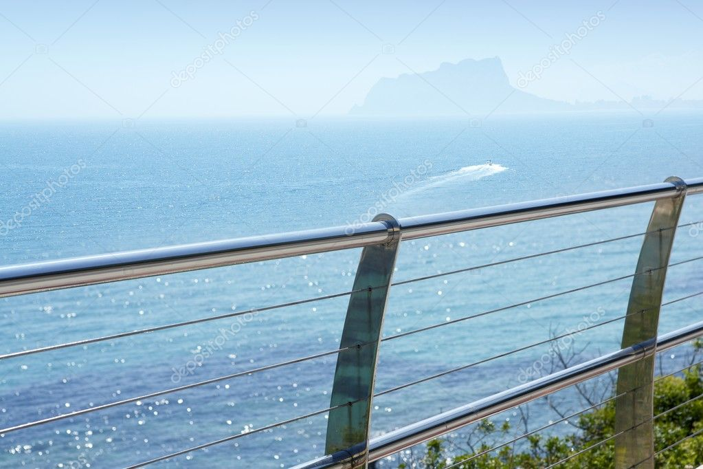 Stainless steel balcony banister to mediterranean sea in moraira alicante spain — Stock Photo #5509959