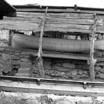 Escalo Formentera boat stranded wooden rails — Stock Photo #5510101