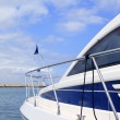 Blue yacht side view Formentera port Balearic - Stock Photo