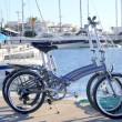 Two bicycles marine folding bike on marina - Zdjęcie stockowe