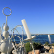 Stock Photo: Candelabrum white Formenterisland blue sea