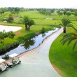 Golf course lakes palm trees aerial view - Stockfoto