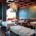 Interior restaurant decoration warm wood ceiling — Stock Photo #5510708