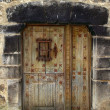 Medieval wooden door in stone wall Pyrenees — Stock Photo #5510826