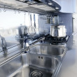 Blue silver kitchen modern architecture decoration — Stock Photo #5510842