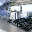 Blue silver kitchen modern architecture decoration - Stock Photo