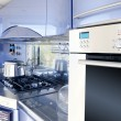 Blue silver kitchen modern architecture decoration — Stock Photo #5510846