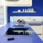 Blue white kitchen modern interior design house — Stock Photo #5510870