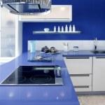Blue white kitchen modern interior design house — Stock Photo