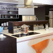 Brown wood kitchen modern stainless steel — 图库照片