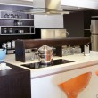 Brown wood kitchen modern stainless steel -  