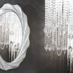 decoración moderna de cristal strass lámpara Espejo oval — Foto de Stock