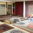 Arabic carpet shop exhibition colorful carpets - Stockfoto
