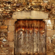 Aged wood door in medieval masonry Pyrenees — Stock Photo