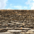 Slate stone roof tiles outside view perspective — Stock Photo