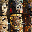 Stock Photo: Mexicwooden mask handcrafted wood faces