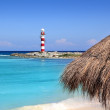 Stock Photo: Cancun lighthouse turquoise caribbebeach