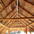 Caribbean wooden sun roof Palapa - Stock fotografie