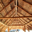 Stock Photo: Caribbewooden sun roof Palapa