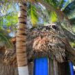 Coconut palm trees palapa hut beach — Stock Photo