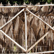 Tropical fence palm tree leaves and wood trunks - Stock Photo