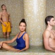 Couple young in cool spa water pool after sauna — Stock Photo