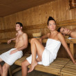 Sauna spa therapy young beautiful group — Stock Photo #5511537