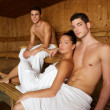 Sauna spa therapy young beautiful group - Stock Photo