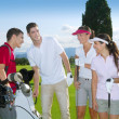 Stock Photo: Golf course group young players team