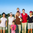 Golf course group of friends with children — Stock Photo #5511609