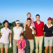 Golf course group of friends with children — Stock Photo
